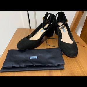 Prada Black Suede Mary Jane Heels - Size 38.5